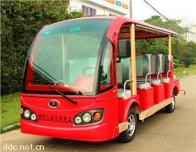 红色5排14座电动景区公园接待观光车