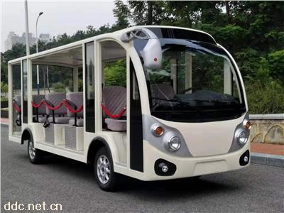 景区主题公园用14人座电动观光车带安全防护链