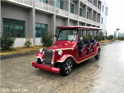 利凯8座夏利红欧式风格电动老爷车