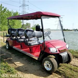 傲森8座酒红色电动高尔夫观光车