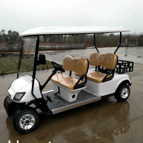 正两排4座白色电动高尔夫球车加斗