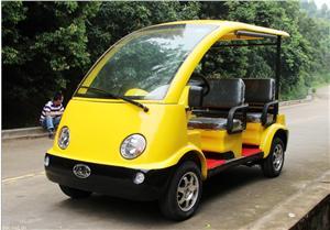 黄色4座网格社区电动巡逻车