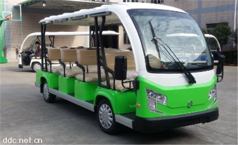 沃森白绿色12座豪华电动景区观光车