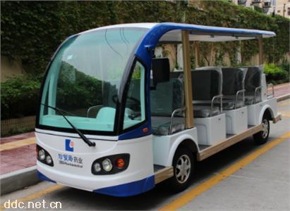 沃森蓝白色4排11座电动游览观光车