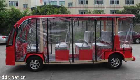 透明雨帘红色11座电动观光游览车