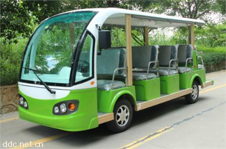白绿色14座电动观光游览接待车
