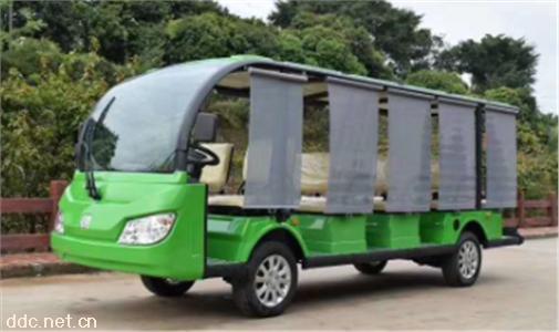 绿色14座电动观光车电瓶游览接待车